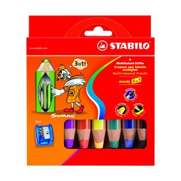 Набор супертолстых карандашей Stabilo Woody, 6 шт. с точилкой