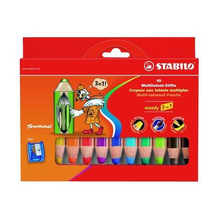 Набор супертолстых карандашей Stabilo Woody, 10 шт. с точилкой